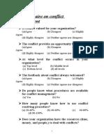 Questionnaire on conflict management