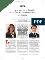 Mise en Œuvre de La Directive Européen Pour La Fusion Transfrontalière