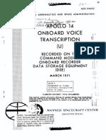 Apollo 14 Onboard Voice Transcription CM