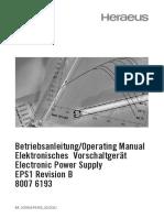 Betriebsanleitung/Operating Manual Elektronisches Vorschaltgerät Electronic Power Supply EPS1 Revision B 8007 6193
