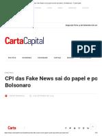 CPI das Fake News sai do papel e pode assombrar Jair Bolsonaro - CartaCapital