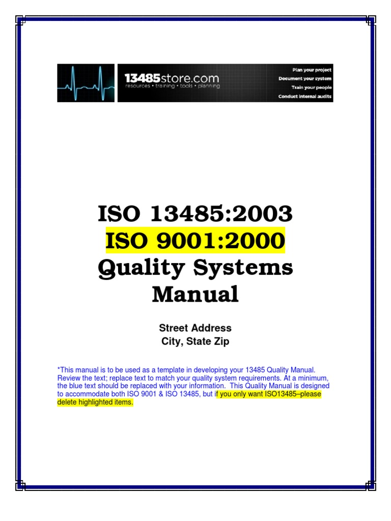 ISO13485QualityManualSample Quality Management System – Quality Manual Template
