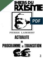 Pierre Lambert, Actualité du programme de transition
