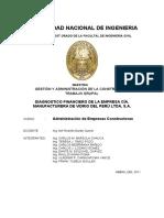 TRABAJO DIAGNOSTICO FINANCIERO DE LA EMPRESA CIA MANUFACTURERA DE VIDRIO