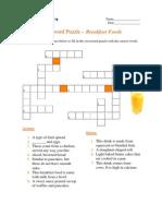 Crossword Puzzle - Breakfast Foods