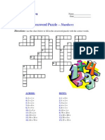 Crossword Puzzle - Numbers