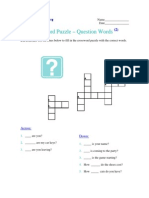 Crossword Puzzle - Question Words