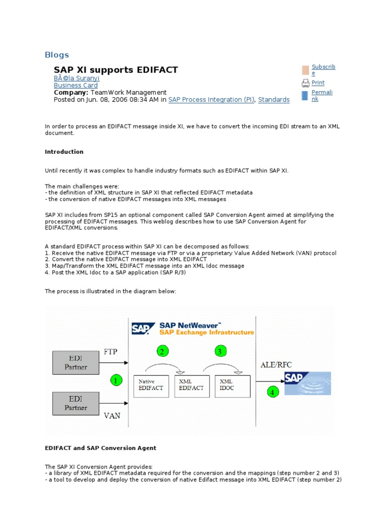 SAP XI supports EDIFACT | Electronic Data Interchange | Xml