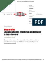 Jean-Luc Nancy, mort d'un philosophe à bras-le-cœur – Libération