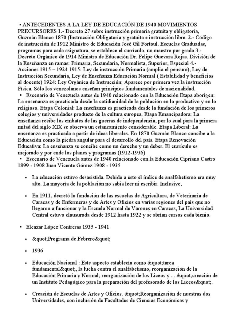 ANTECEDENTES A LA LEY DE EDUCACIÓN DE 1940 MOVIMIENTOS PRECURSORES 1