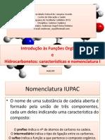 Aula 03 Introdução às funções orgânicas e hidrocarbonetos características e nomenclatura I