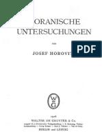J. Horovitz - Koranische Untersuchungen