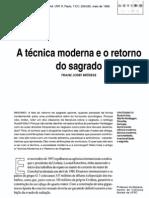 A técnica moderna e o retorno do sagrado