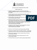 Chardon Schools Reductions and Cost Containment since 2006