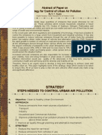 Strategy of Control of Urban Air Pollution