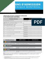 Conditions d'admissions polytechnique cmr