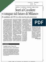 """LA SFIDA DI BOERI AL CAVALIERE """"TELEQUIZ SUL FUTURO DI MILANO""""   (CORRIERE DELLA SERA MILANO)"""