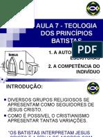 A TEOLOGIA DOS PRINCÍPIOS BATISTAS