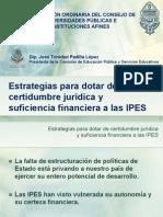 Estrategias para dotar de certidumbre jurídica y suficiencia financiera a las IPES- Presentación.