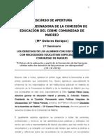 """Discurso de Mª Dolores Enrique, en la apertura del Seminario  """"Necesidades educativas especiales de los alumnos con discapacidad en la Comunidad de Madrid"""