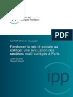 Renforcer Mixite Sociale College Evaluation Secteurs Multi Paris Ipp Fevrier 2021
