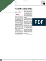 Carlo Bo, aperta la mostra - Il Corriere Adriatico del 14 ottobre 2021