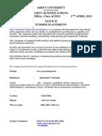 184d0VPS CONSULTANTS- HR 17th April SUMMER INTERSHIP NOTICE 15 APRIL 2011