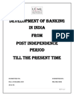 Development of Banking From Post In Dependance Period Till the Present Time