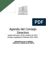 Agenda del Consejo Directivo del 18 de octubre de 2021