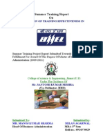 PROJECT REPORT ON EVALUATION OF TRAINING EFFECTIVENESS