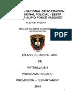 Silabus de Patrullaje II- Promocion Espartanos 2018 -Enfpp