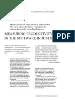 MeasuringProductivityin Software