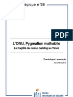 L'ONU, pygmalion malhabile. La fragilité du nation building au Timor