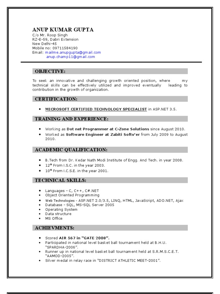 Anup kumar gupta microsoft certified professional resume anup kumar gupta microsoft certified professional resume microsoft sql server language integrated query xflitez Image collections