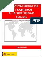 Afiliación media de extranjeros a la seguridad social. Marzo 2011