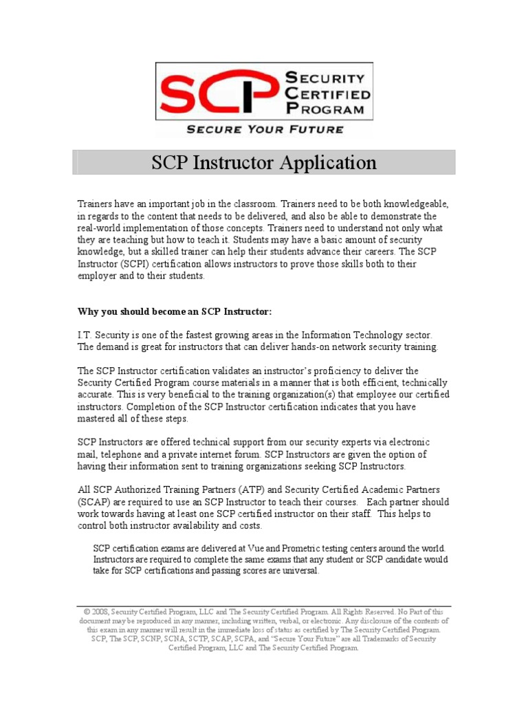 Scp Certified Instructor Application Test Assessment Computer
