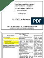 Conteúdos 2021 - Matemática - 2ª Série EM- 3º Trimestre
