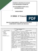 Conteúdos 2021 - Biologia - 3ª Série EM- 3º Trimestre