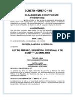 Ley de amparo exhibicion personal y de constitucionalidadç