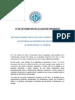 17 DE OCTUBRE DÍA DE LA LEALTAD PERONISTA- Documento 18/10