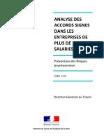 Prévention des risques psychosociaux - Analyse des accords signés dans les entreprises de plus de 1000 salariés. Avril 2011