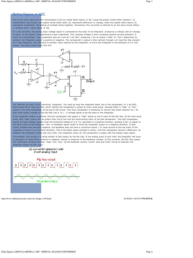 Delta Sigma Analog To Digital Converter Analogue Electronics Circuit Or A Negative Voltage Positive