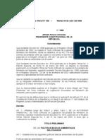 República del Ecuador (2006) Decreto oficial 1589 Ambiente