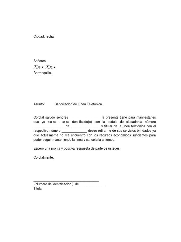Modelo carta de retiro de servicios