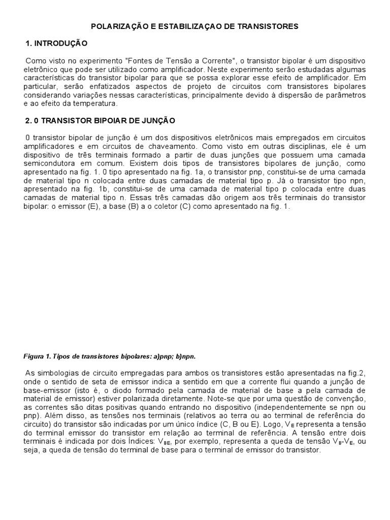 POLARIZAÇÃO E ESTABILIZAÇAO DE TRANSISTORES b17327cfee