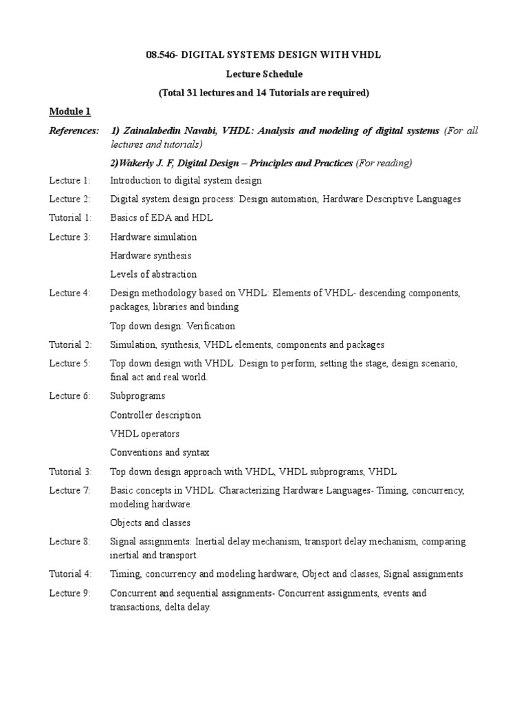 Lecture Schedule For Dsd With Vhdl Hardware Description Pic Microcontroller Primer Tutorial 1 Language