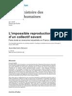 """Jean Baptiste Devaux """"L'impossible reproduction d'un collectif savant"""""""