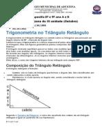8º e 9º ano A e B- Trigonometria no Triângulo Retângulo