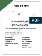 TERM PAPER OF MANAGERIAL ECONOMICS