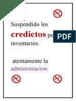 Suspendido Los Credictos Por Inventarios
